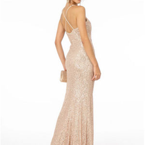 Sleeveless V-Neckline Evening Long Dress